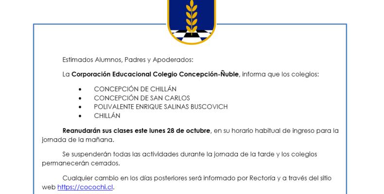 Reinicio actividades académicas Lunes 28/10