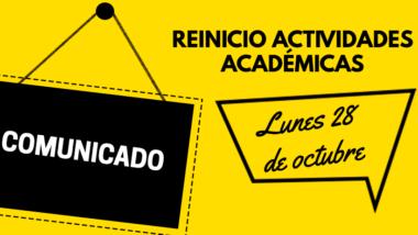 REINICIO DE CLASES 28 DE OCTUBRE
