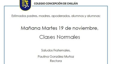 Martes 19, clases normales.